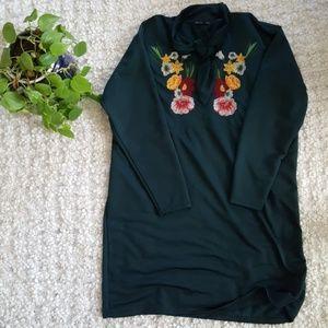 Zara Embroidered Floral Shift Dress
